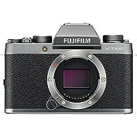 """Fujifilm X-T100 Fotocamera Digitale 24MP, Sensore CMOS APS-C, Ottiche Intercambiabili, Mirino EVF, Schermo LCD Touch da 3"""" Inclinabile a 180°, Filmati 4K, WiFi e Bluetooth, Argento Scuro"""