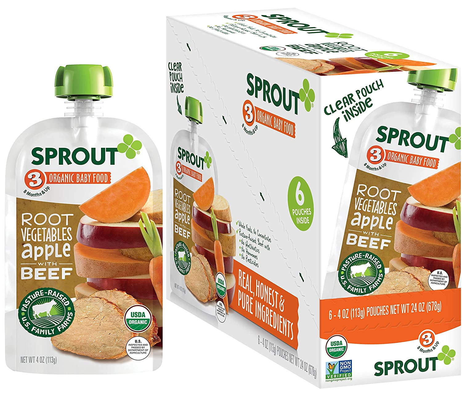 Sprout Organic Baby Food Pouches Stage 3, Root Vegetables Apple w/ Beef, 4 Ounce Pouches (Pack of 6)