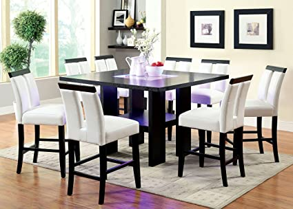 Furniture Of America Durant 9 Piece LED Illuminated Pub Dining Set