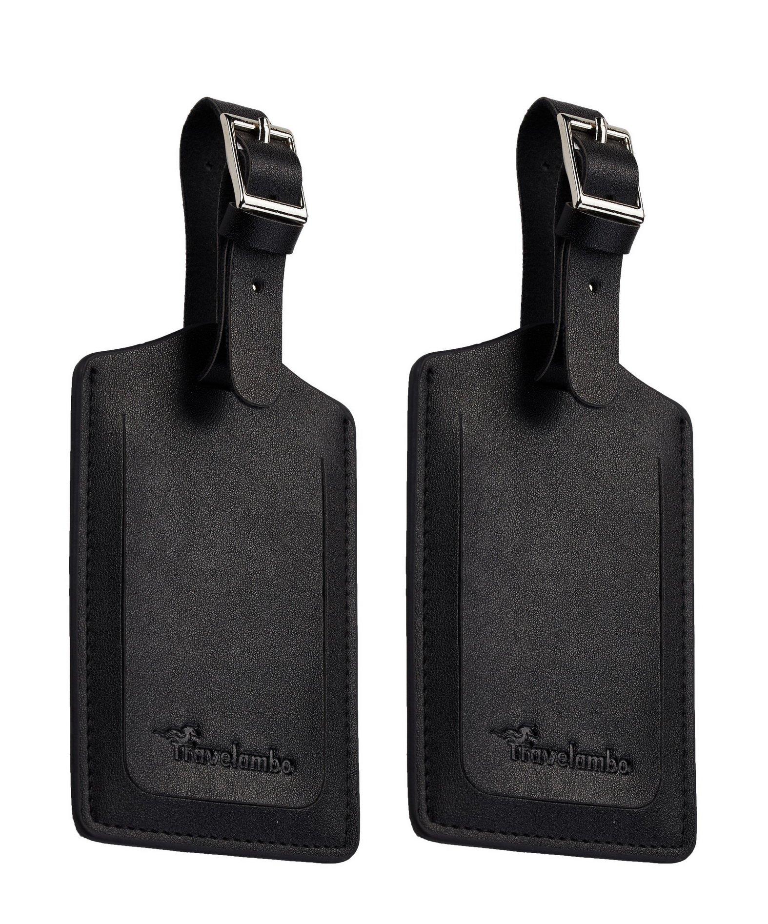 Travelambo Leather Luggage Bag Tags (Black 4001- Classic Black) by Travelambo (Image #3)