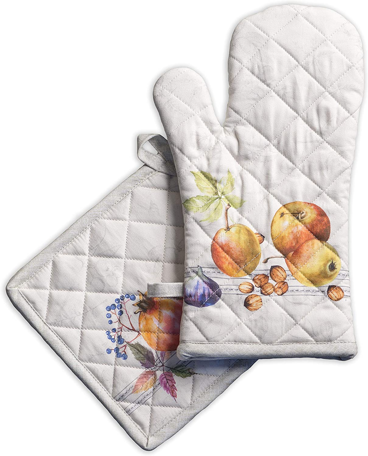 Maison d'Hermine Fruit d'hiver 100% Cotton Set of Oven Mitt (7.5 Inch by 13 Inch) and Pot Holder (8 Inch by 8 Inch). Perfect for Thanksgiving and Christmas