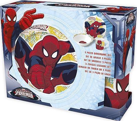 Spiderman Estuche Regalo Set merienda Ceramica (Cuenco+Plato Postre+Taza) (STOR