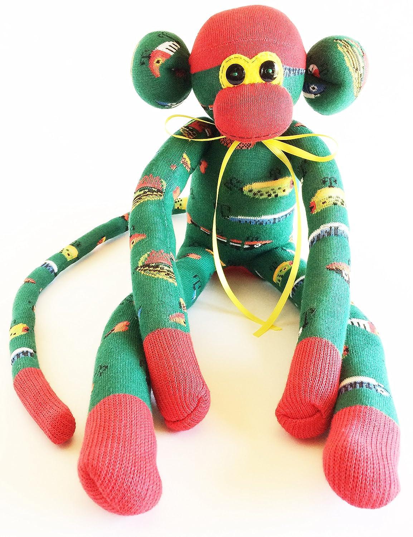 Sock Monkey Green Monkey Fishing Lover Gift Fishing Lure Sock Monkey Bait and Tackle Fishing Lover Fishing Lover Sock Monkey