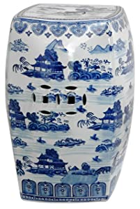 "Oriental Furniture 18"" Square Landscape Blue & White Porcelain Garden Stool"