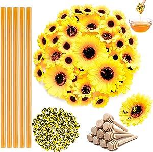 H1vojoxo 135PCS HoneyBeeDipperArtificialSunflowersCraftSet, Honey Bee Dipper with Sunflowers Craft Kits, Honey Bee Dipper Sunflowers Decor, Honey Bee Themed Party Decor, Sunflowers Party Favor