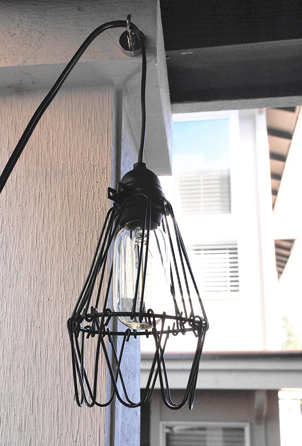 Industrial Metal Bird Cage Lamp Guard String Light Shade Open Close ...