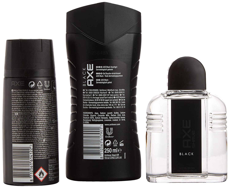 AXE Neceser Black Desodorante Spray 150 ml + Gel Black 250 ml + After Shave Black 100 ml - 1 Pack