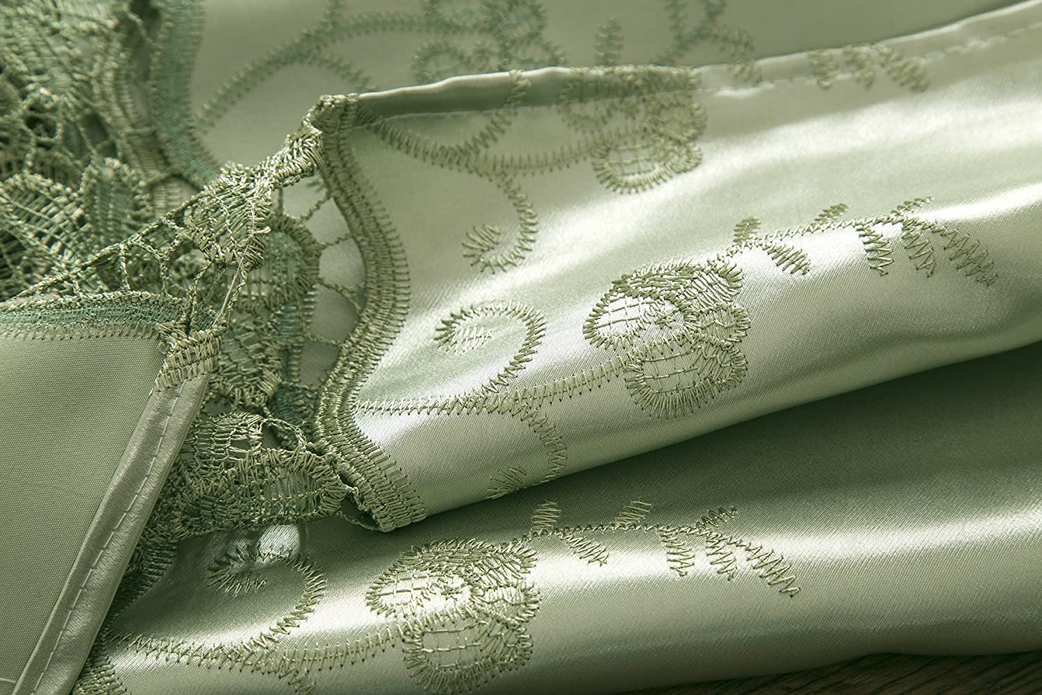 RT Designers Collection Everly Satin Macrame 54 x 84 in Sage Rod Pocket Curtain Panel