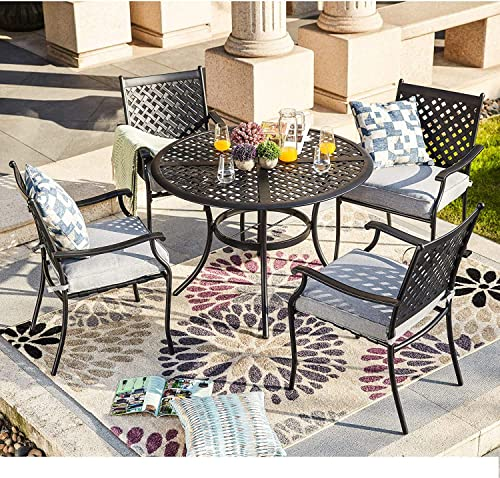 LOKATSE HOME 5-Piece Outdoor Patio Metal Dining Set