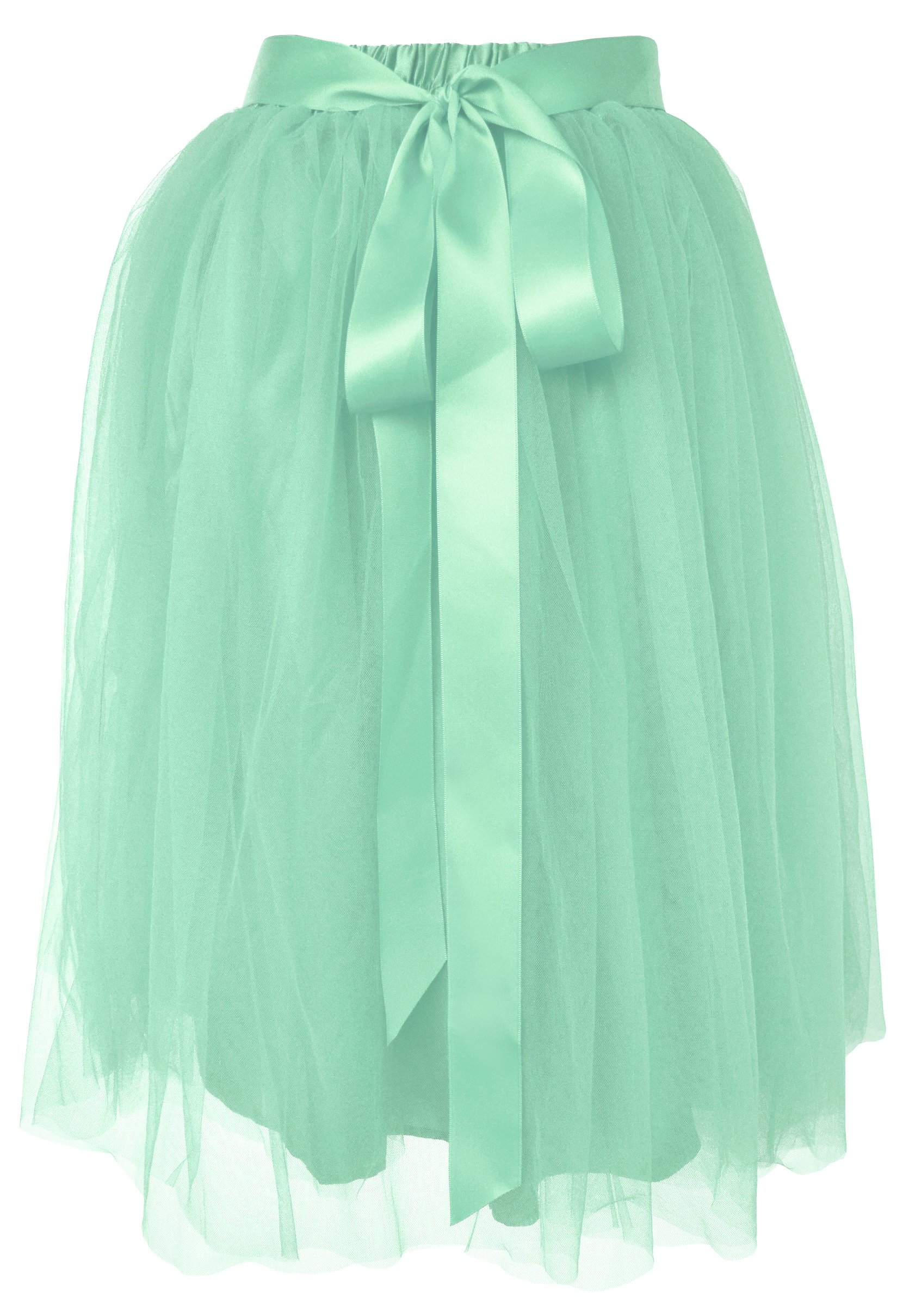 Dancina Women's Knee Length Tutu A Line Layered Tulle Skirt Size Plus 12-24 Pastel Mint