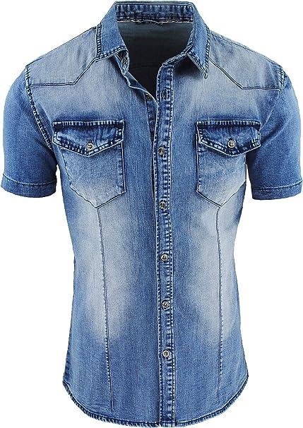 carta Coerente accedere  Evoga Camicia Jeans Uomo Casual a Manica Corta Slim Fit Denim: Amazon.it:  Abbigliamento