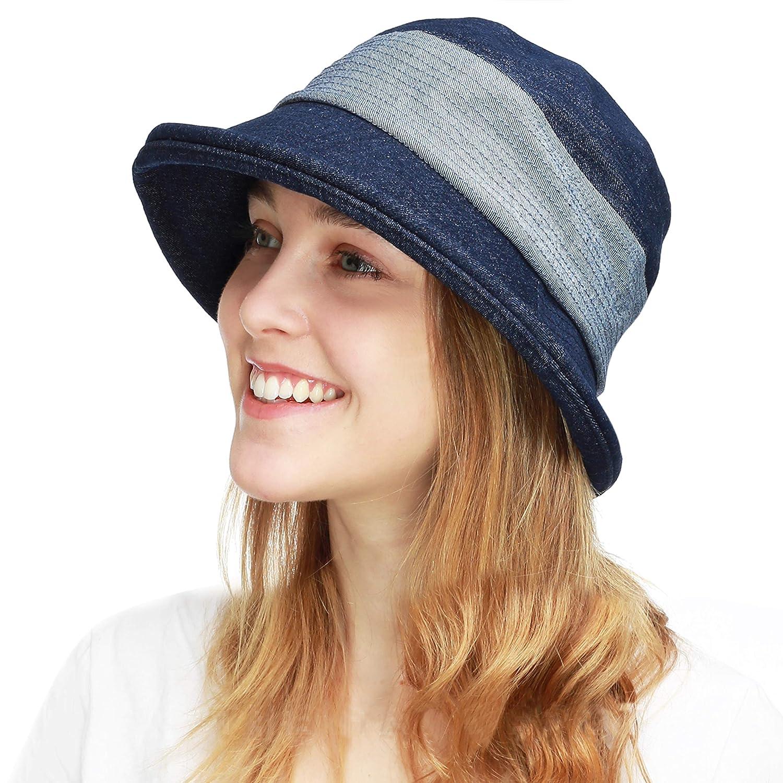 Collete Denim bluee BLACK HORN Ladies Packable Women's Wide Brim Sun Hat