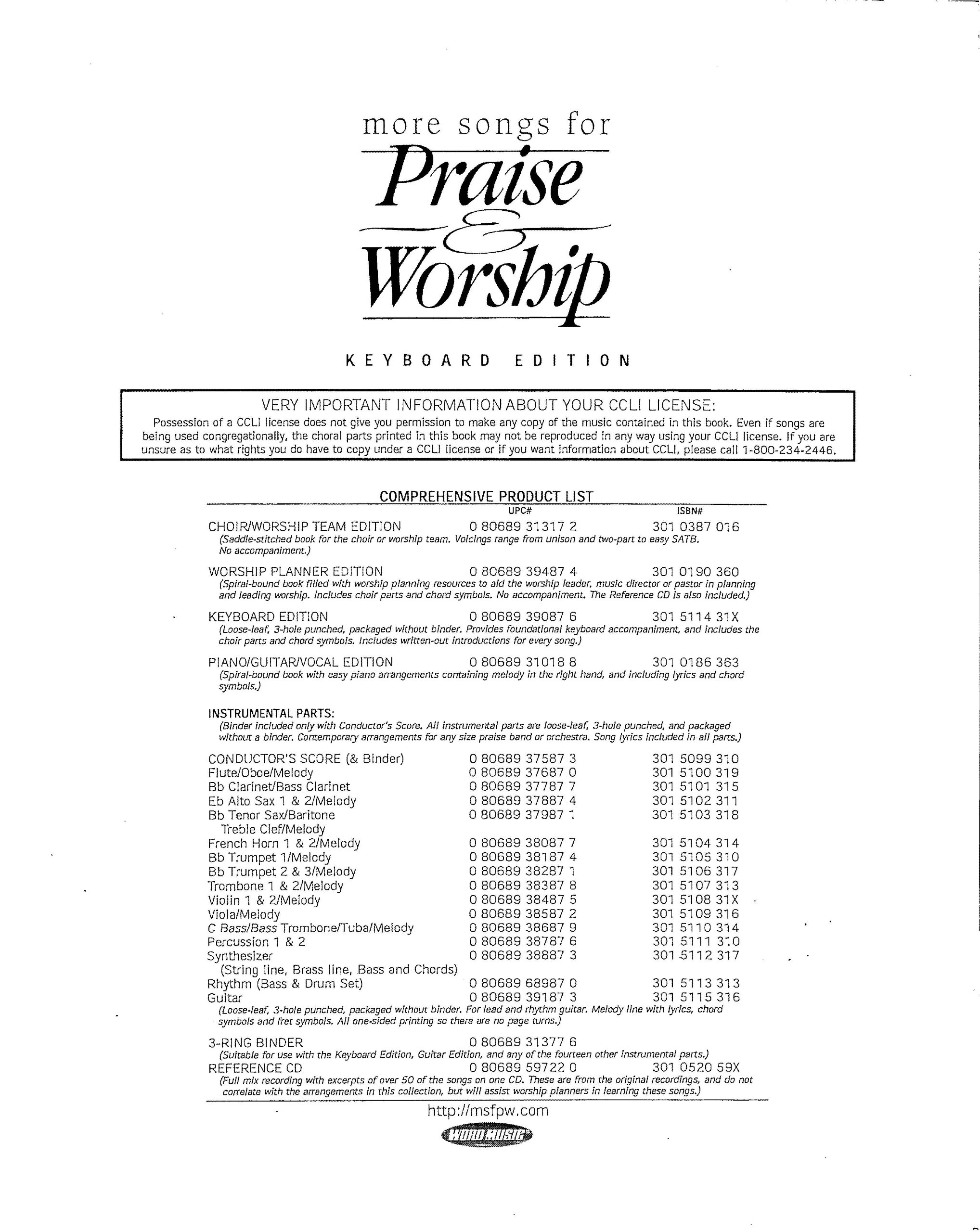 More songs for praise keyboard edition loose leaf more songs more songs for praise keyboard edition loose leaf more songs for praise and worship 1 word music amazon books biocorpaavc Choice Image