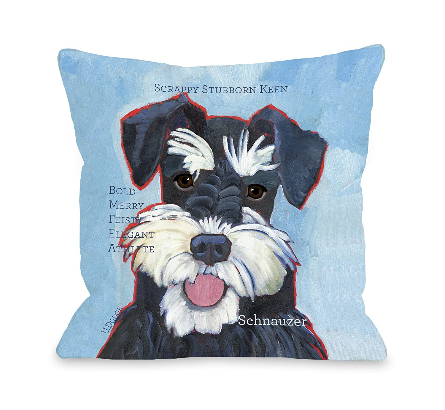 One Bella Casa Schnauzer 2 Pillow for Pets, 26 by 26-Inch