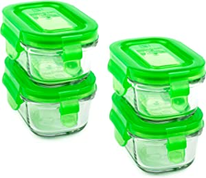 Wean Green Wean Tubs 5 Ounce Baby Food Glass Containers - Pea (Set of 4)