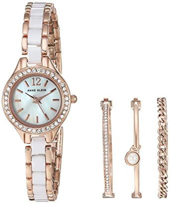 ebd1fa24b Image Unavailable. Image not available for. Color: Anne Klein Women's  AK/1954RGST Swarovski Crystal Accented Rose Gold-Tone and White Ceramic