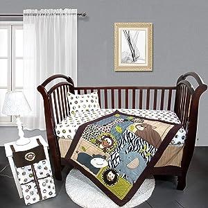 Orange Infinity Jungle Safari Theme 5 Piece Nursery Crib Bedding Set for Boys, for Standard Size Crib, Crib Bedding Set of Fitted Crib Sheet, Quilt, Dust Ruffle, Diaper Stacker and Pillow Case