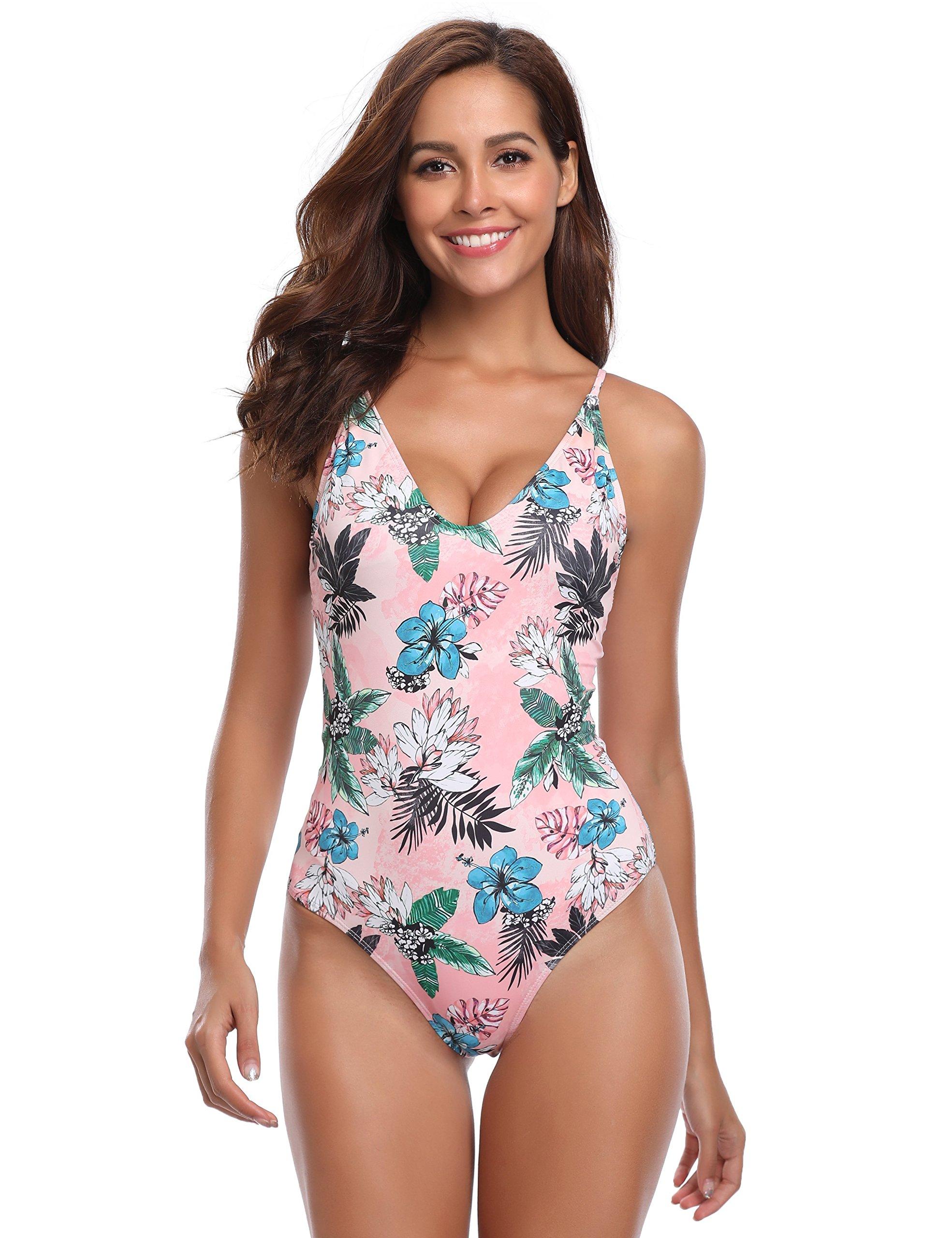 7e3b9502a11 Galleon - MarinaVida Women V-Neck One Piece Swimsuit Floral Print Bathing  Suit
