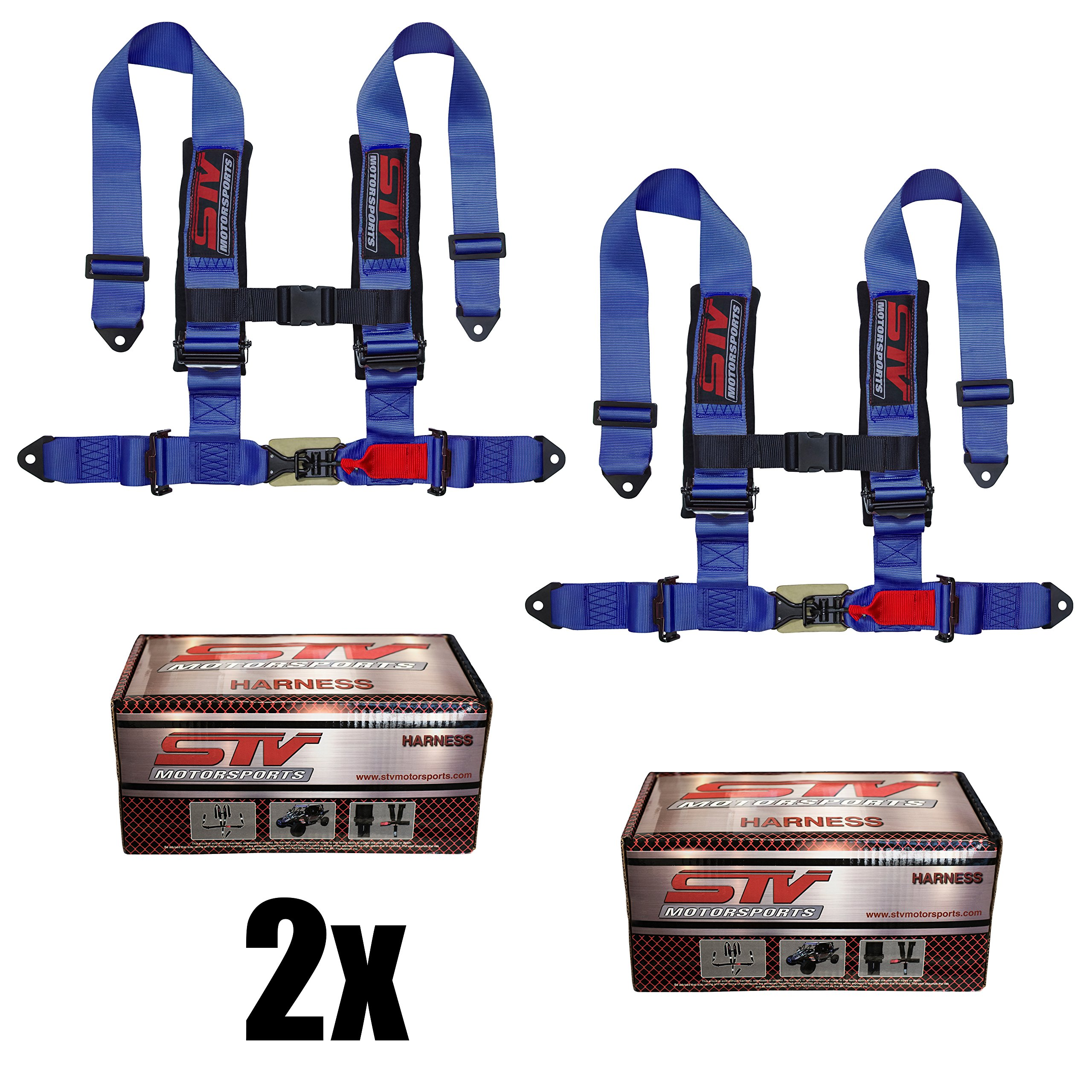 """STVMotorsports 4 Point Harness Set - 3"""" Pads - Universal H-Type - Bolt In - Latch and Link Quick Release - for Off-Road, UTV, Trucks, Side by Side (PAIR) (Blue)"""
