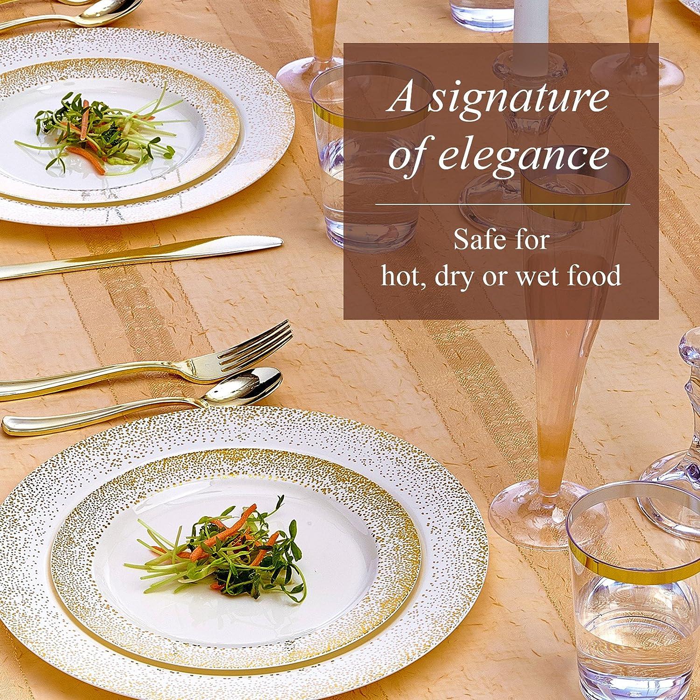 VAJILLA PARA FIESTAS DESECHABLE DE 20 PIEZAS | 20 platos de ensalada o postre| Elegante aspecto de porcelana fina | Para bodas y comidas de lujo | (Mist ...