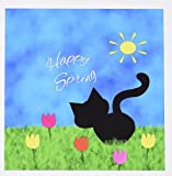 3dRose Cute Black Kitty Cat Colorful Tulips Happy Spring - Greeting Cards, 6 x 6 inches, set of 12 (gc_180749_2)