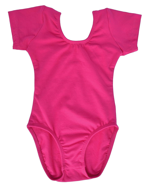 Dancina Body Justaucorps Filles Manches Courtes en Coton et /Élasthanne