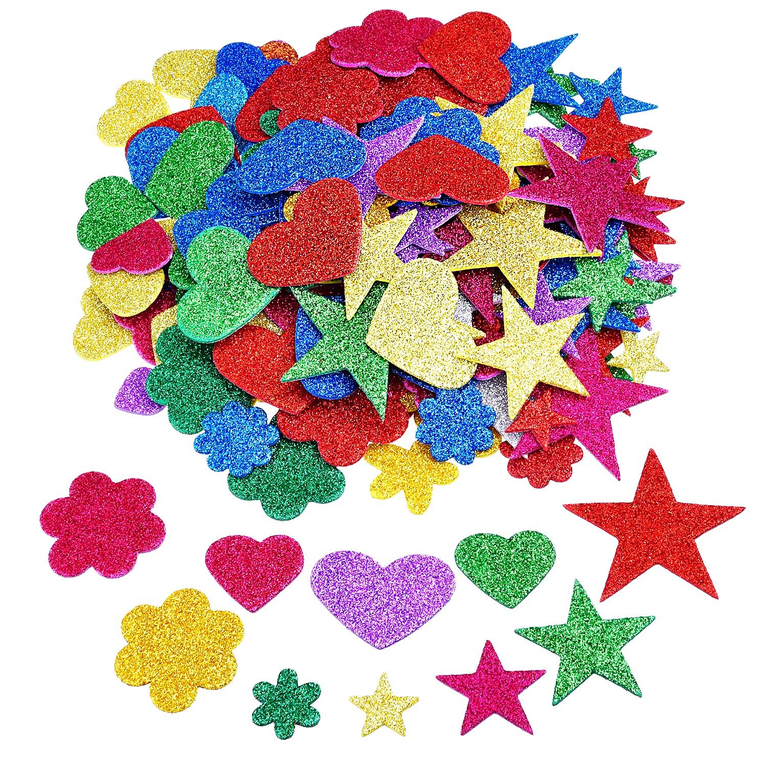 Outus 2.65 Ounce Foam Glitter Stickers Self-Adhesive Foam Stickers, Star, Mini Heart and Flower Shape