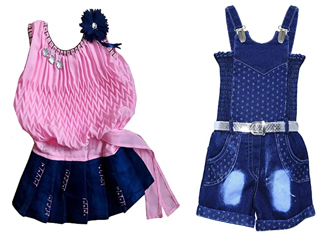 1660ddfdced6 Mpc Cute Fashion Baby Girl s Infant Jeans dungaree Jumpsuit Combo ...