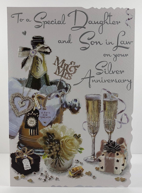 Son /& Daughter-In-Law Anniversary Card ~ Silver /& White Design
