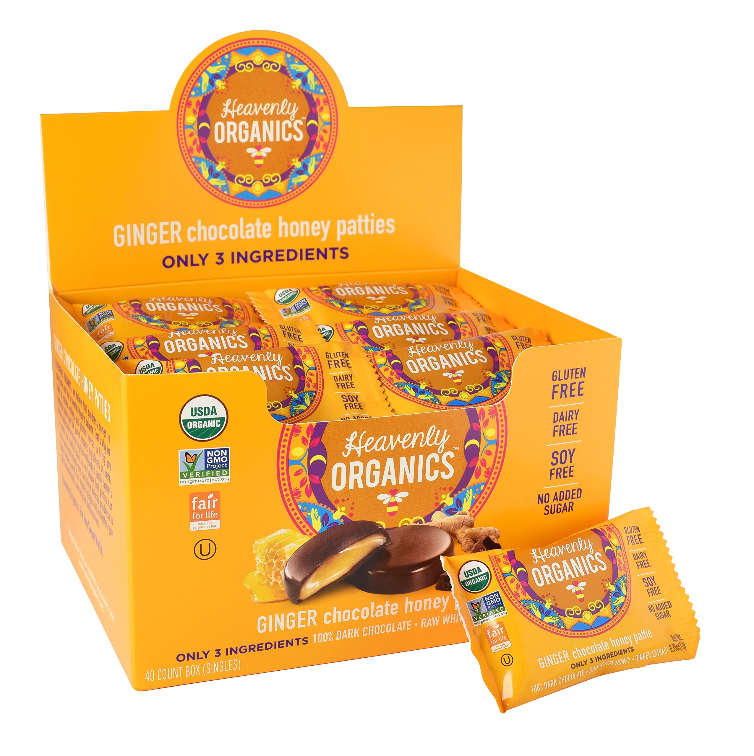 Heavenly Organics Honey Pattie, Chocolate Ginger, 40 Packages