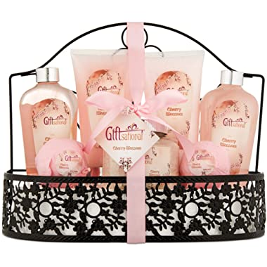 Spa Gift Basket with Heavenly Cherry Blossom Fragrance - Bath Set Includes Shower Gel, Bubble Bath, Bath Salts, Bath Bombs and more! Great Graduation, Anniversary, Birthday or Wedding Gift for Women