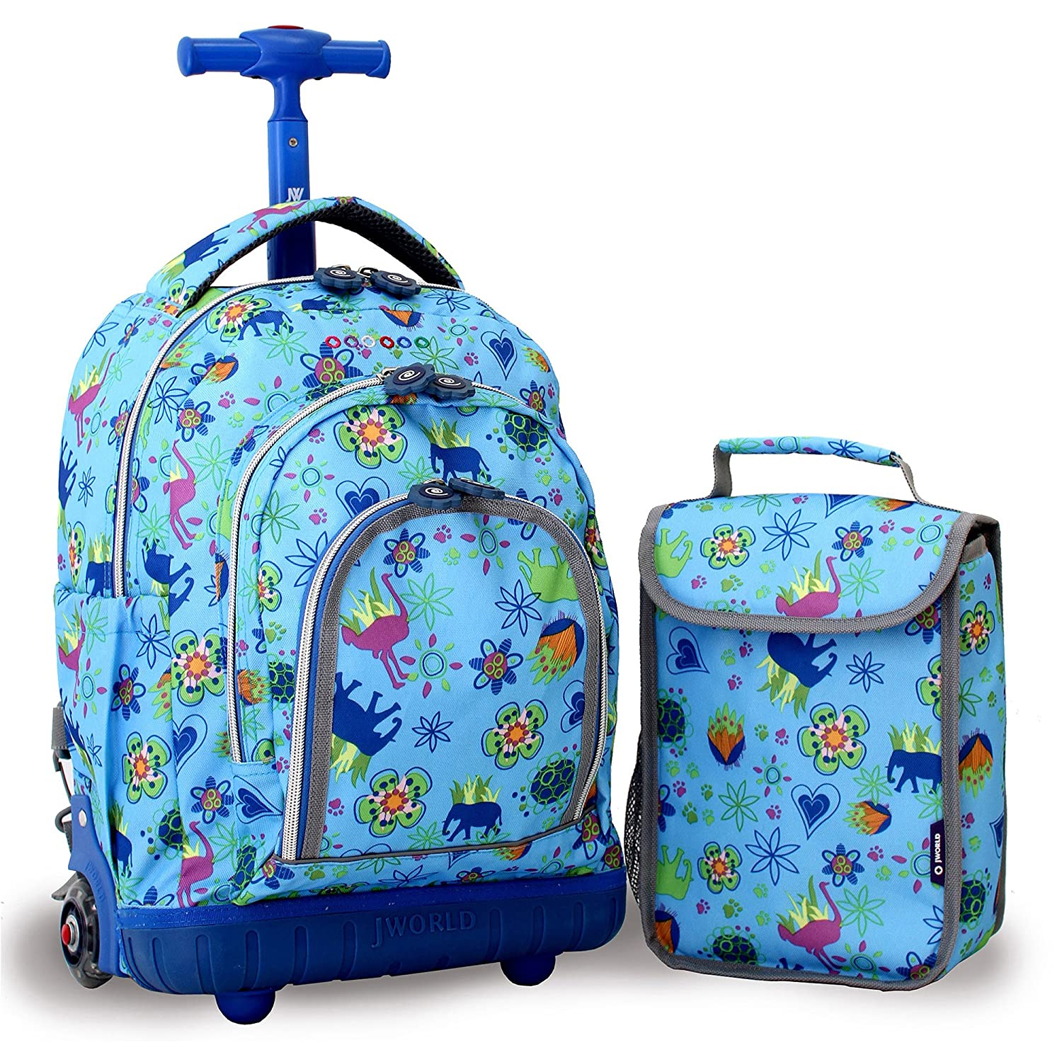 j world new york lipop kids rolling backpack with lunch bag