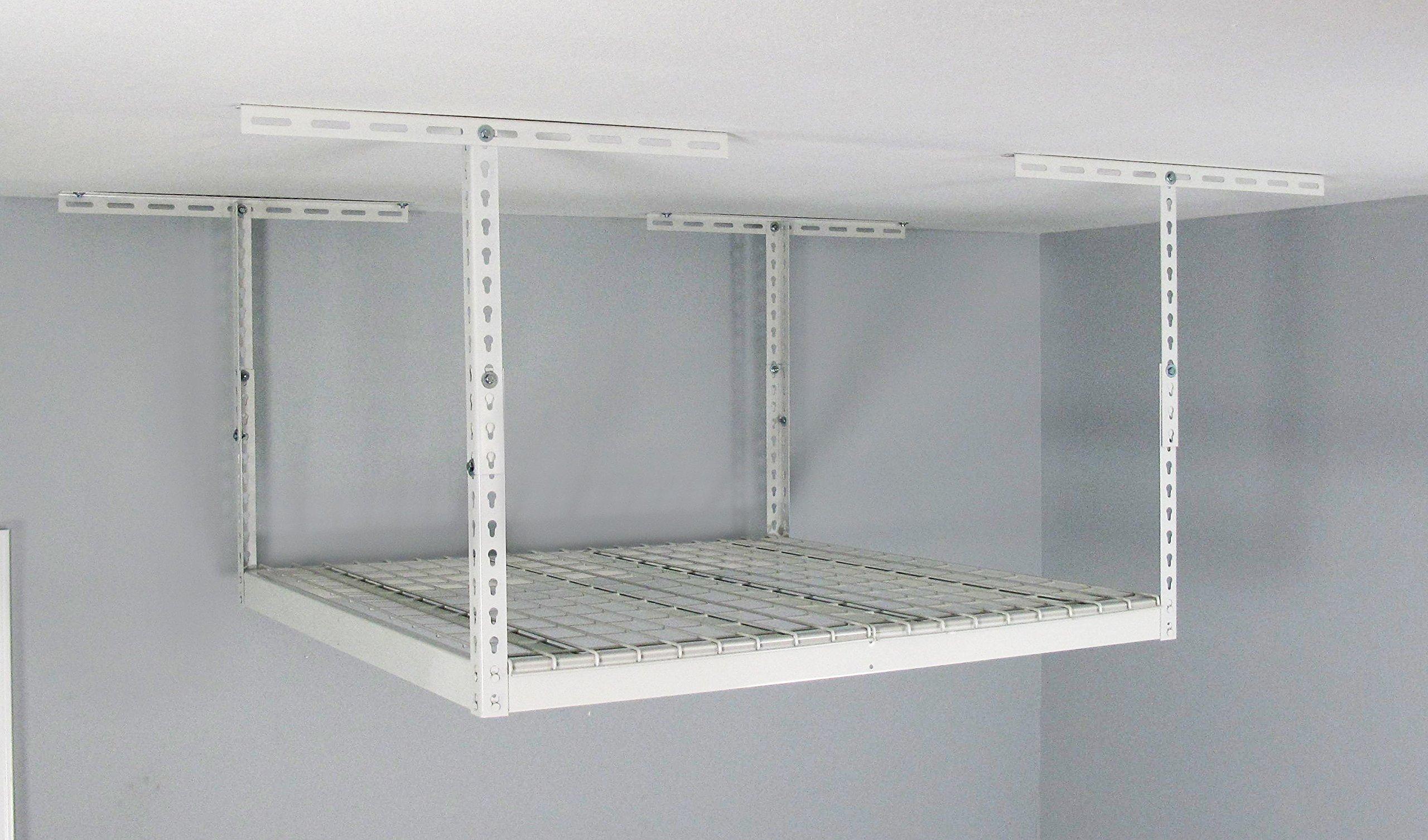MonsterRAX Overhead Garage Storage Rack, 4' x4', White