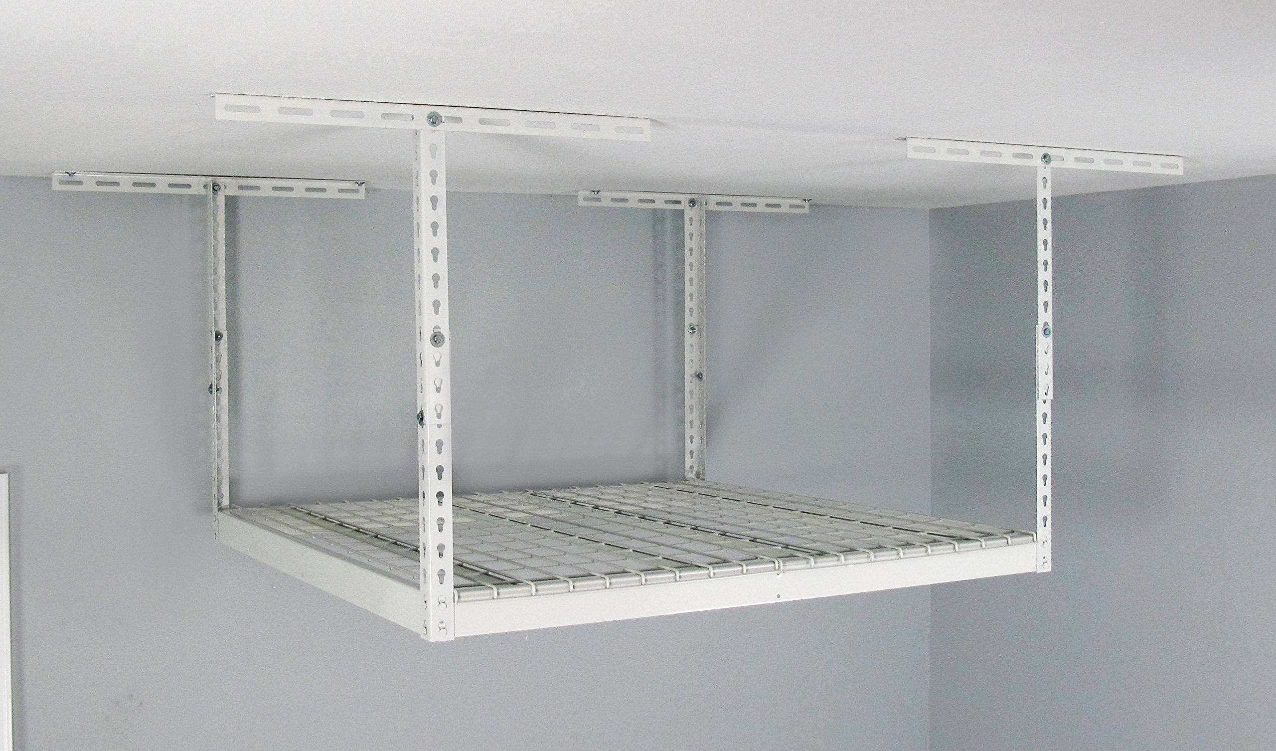 MonsterRax Overhead Garage Storage Rack (18'' to 33'' Ceiling Drop), 4' x 4', White