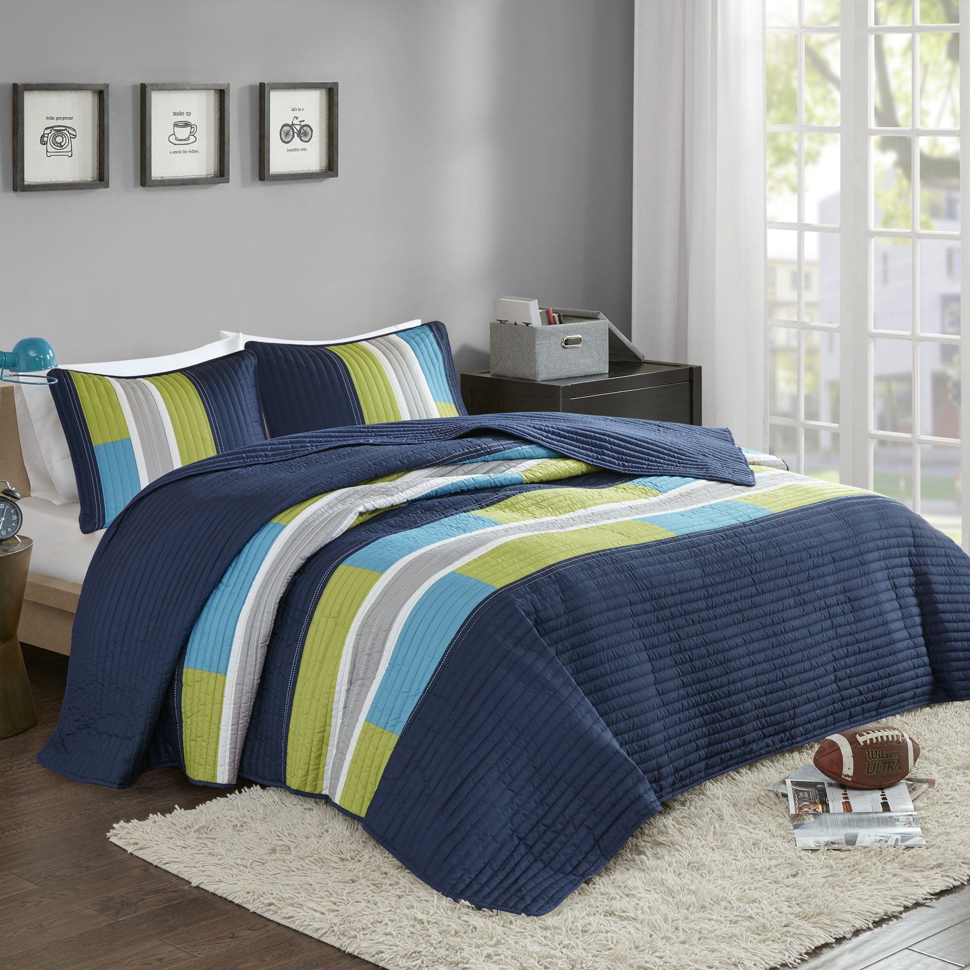 Bedspreads Queen Size Mini Quilt Set - Casual Pierre 3 Piece Kids Lightweight Filling Bedding Cover - Blue / Navy Patchwork Print - All Season Hypoallergenic - Fits Full/Queen - Comfort Spaces