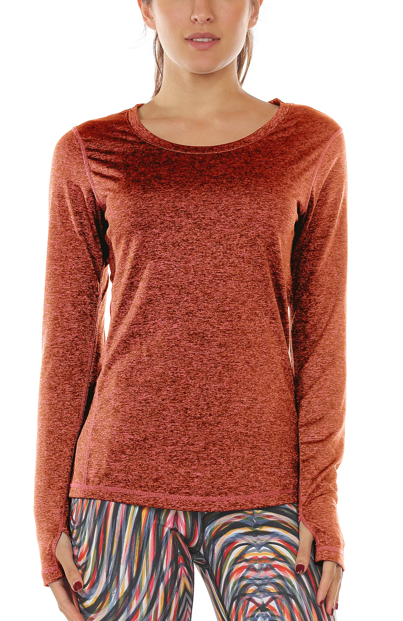 icyzone Women\'s Workout Yoga Long Sleeve T-Shirts With Thumb Holes (Burnt Ochre, M)