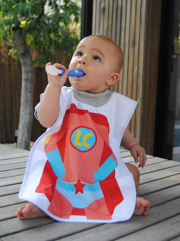 Montessori 100/% Algod/ón delante y dorso plastificado 55cm Babero Impermeable delantal para fomentar la autonom/ía XXL