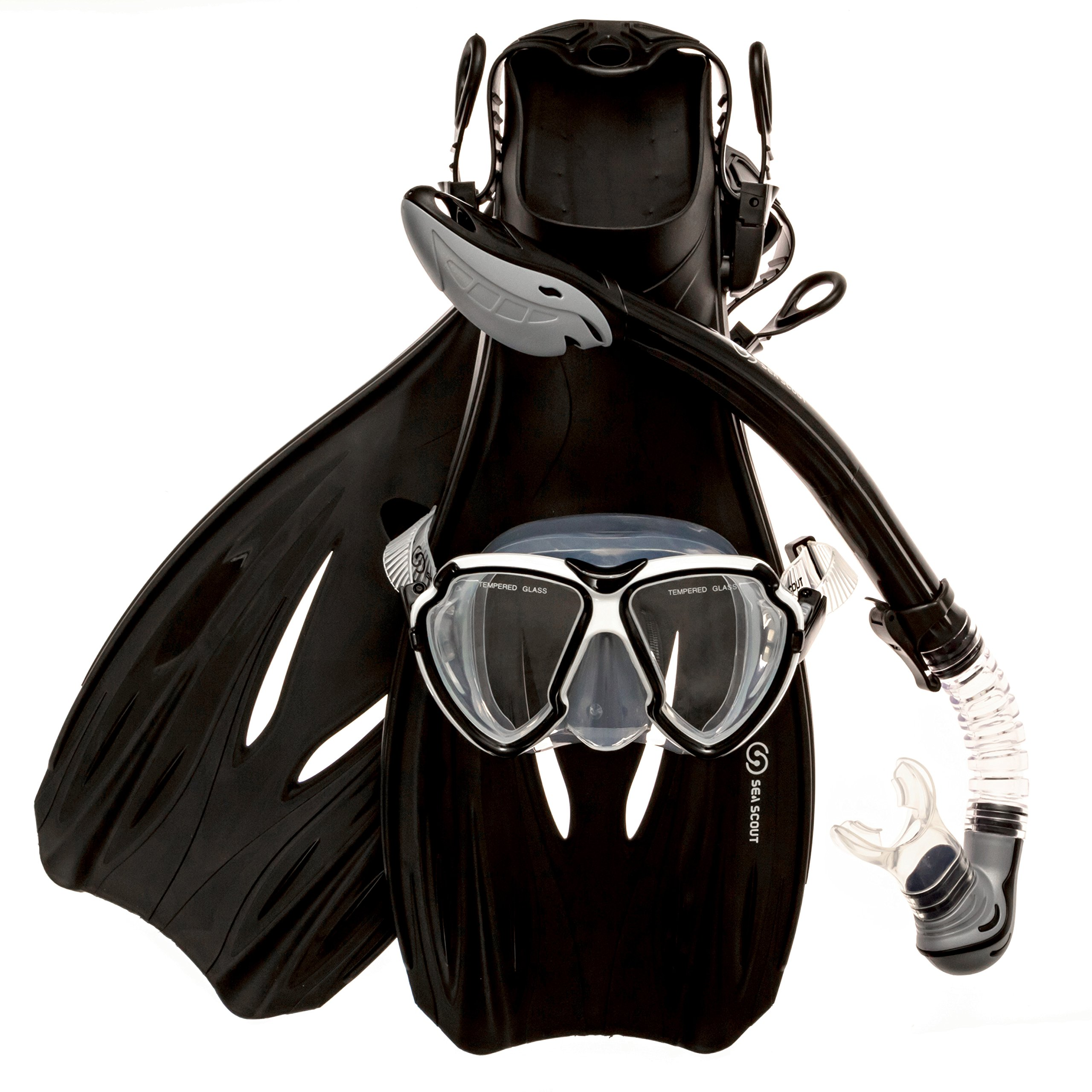 Sea Scout Adult Snorkeling Set - Dry-top Snorkel/Fins/Mask (Black, Medium) by Sea Scout