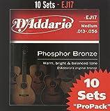 D'Addario EJ17-10P Phosphor Bronze Acoustic Guitar Strings, Medium, 13-56, 10 Sets
