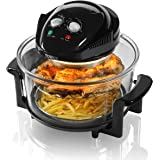 Tower T14001 Halogen Airwave Low Fat Air Fryer, 1300 W, 17 Litre Capacity with Extender Ring, Black
