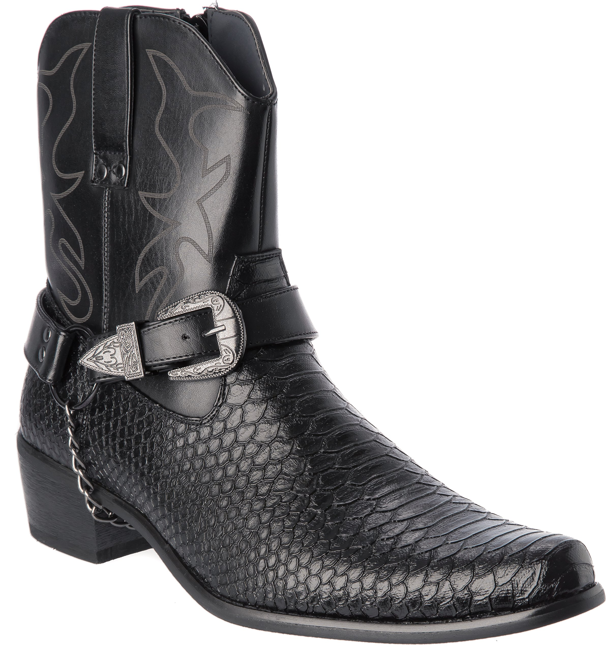 Alberto Fellini Western Style Boots New Upgrade PU-Leather Cowboy Black Dress Shoes Size 9