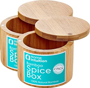Home Intuition Bamboo Salt and Pepper Spice Box With Magnetic Swivel Lid, 2 Pack