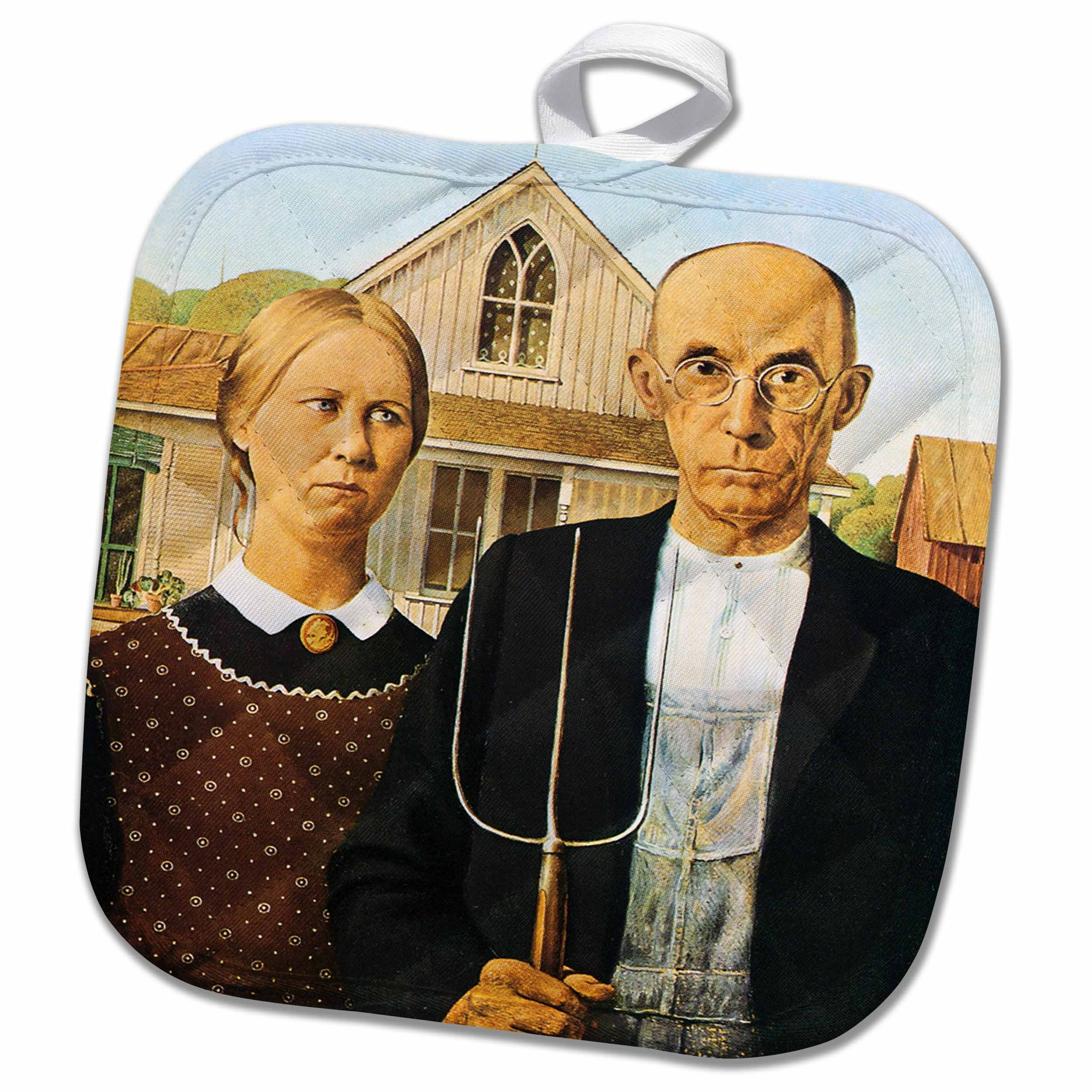 3D Rose American Gothic by Grant Wood Pot Holder, 8 x 8