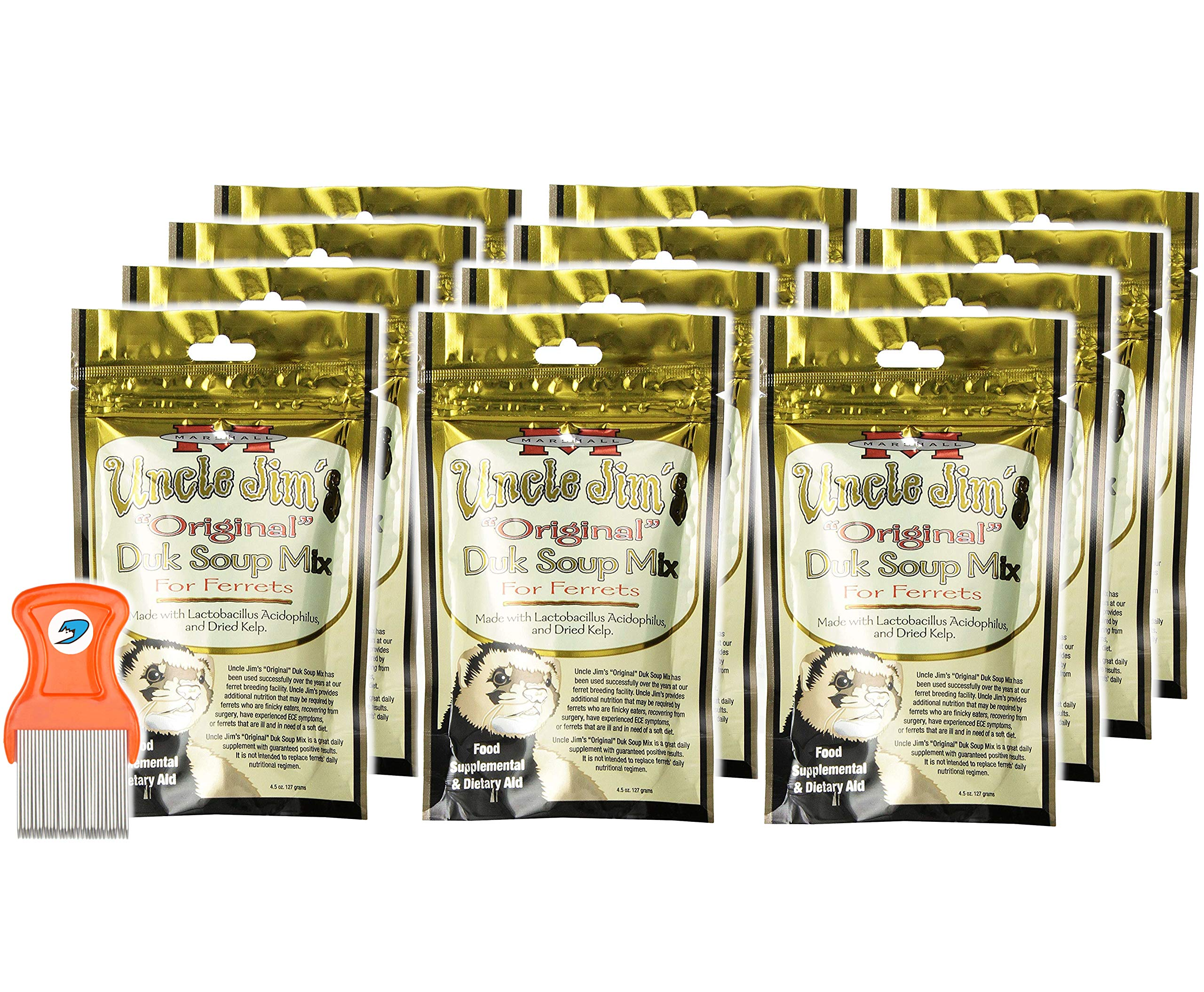 Pack of 12 - Uncle Jim's Original DUK Soup Mix by Marshall - Ferret Food Supplement and Dietary Aid - RandStar Mini Comb by Marshall Pet Products (Image #1)