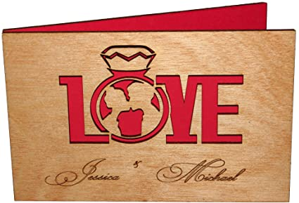 Amazon Com Customized Real Wood Valentines Day Card Love Couple