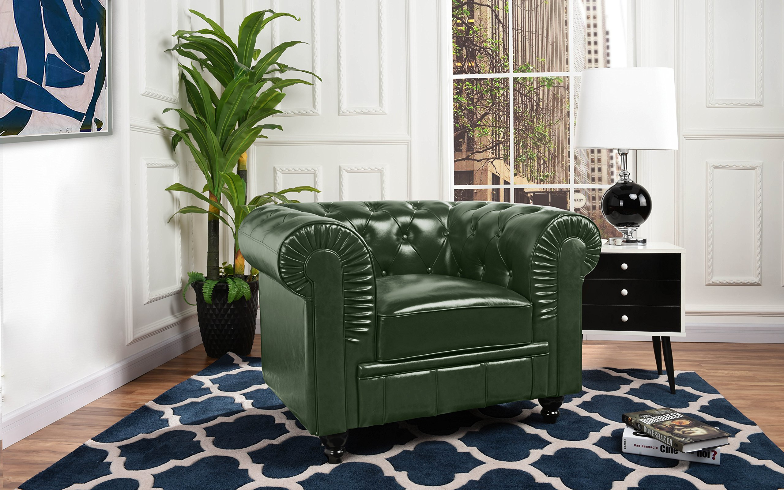 Details About Modern Classic Green Leather Large Chesterfield Scroll Arm  Tufted Single Chair
