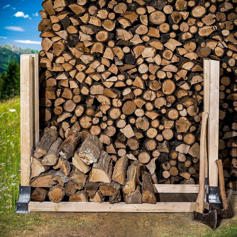 acier galvanis/é   TecTake Patins d/'empilage pour le bois de chemin/ée chauffage 2 pi/èce   no. 402370 diverses quantit/és-