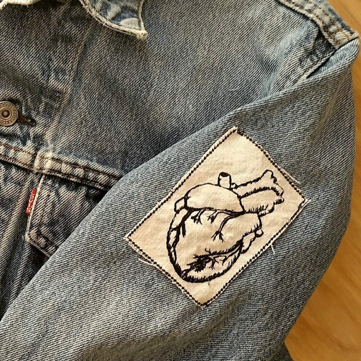 Embroidered Vintage Graphic Vintage Tattoo Style Heart Upcycled Canvas Iron On Jacket Patch