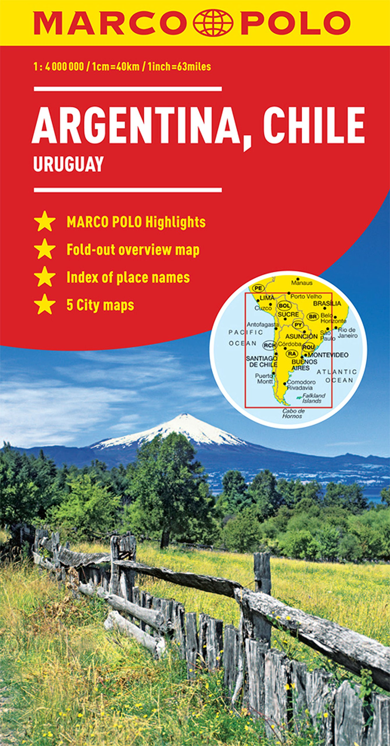 Argentina Chile Marco Polo Map Uruguay Marco Polo Guide - Argentina chile map