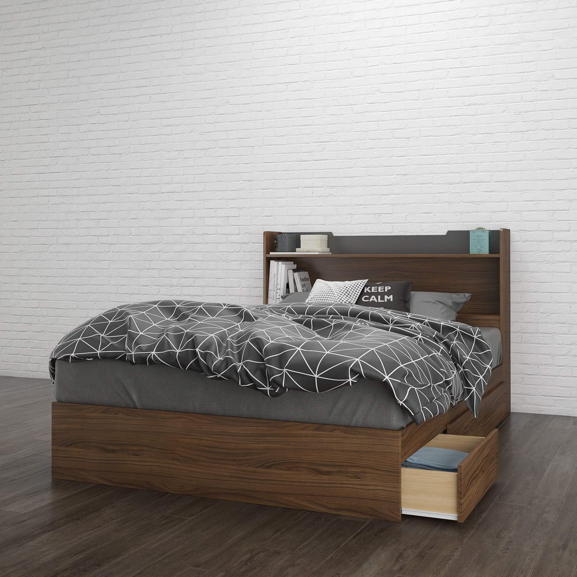 Nexera Cartel 3 Drawer Full Size Bed Bundle #400951 Walnut/Charcoal